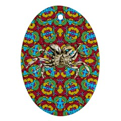 Geometric Multicolored Print Ornament (oval) by dflcprints