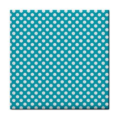 Sleeping Kitties Polka Dots Teal Tile Coasters by emilyzragz