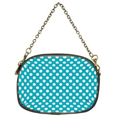 Sleeping Kitties Polka Dots Teal Chain Purses (one Side)  by emilyzragz