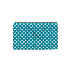 Sleeping Kitties Polka Dots Teal Cosmetic Bag (small)  by emilyzragz