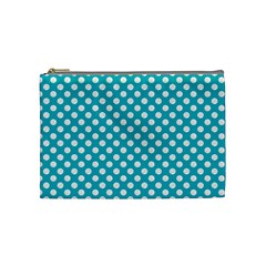Sleeping Kitties Polka Dots Teal Cosmetic Bag (medium)  by emilyzragz