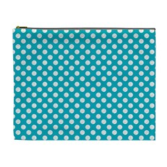 Sleeping Kitties Polka Dots Teal Cosmetic Bag (xl) by emilyzragz