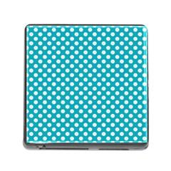 Sleeping Kitties Polka Dots Teal Memory Card Reader (square)