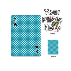 Sleeping Kitties Polka Dots Teal Playing Cards 54 (mini)  by emilyzragz