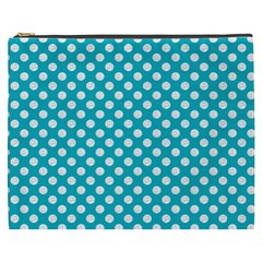 Sleeping Kitties Polka Dots Teal Cosmetic Bag (xxxl)  by emilyzragz