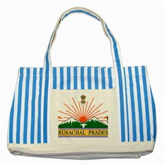 Seal Of Indian State Of Arunachal Pradesh  Striped Blue Tote Bag by abbeyz71