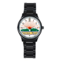 Seal Of Indian State Of Arunachal Pradesh  Stainless Steel Round Watch by abbeyz71