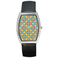 Geometric Multicolored Print Barrel Style Metal Watch by dflcprints