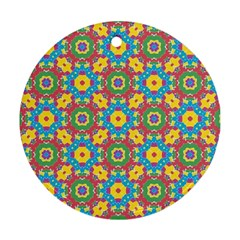 Geometric Multicolored Print Round Ornament (two Sides) by dflcprints