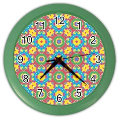 Geometric Multicolored Print Color Wall Clocks by dflcprints