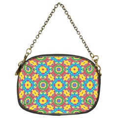 Geometric Multicolored Print Chain Purses (two Sides)  by dflcprints