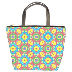 Geometric Multicolored Print Bucket Bags by dflcprints