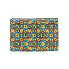 Geometric Multicolored Print Cosmetic Bag (medium)  by dflcprints