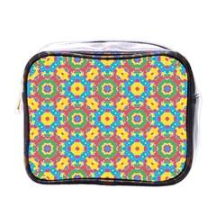 Geometric Multicolored Print Mini Toiletries Bags by dflcprints