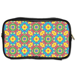 Geometric Multicolored Print Toiletries Bags by dflcprints