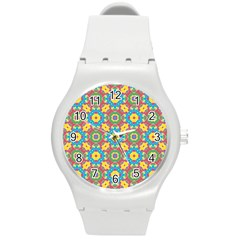 Geometric Multicolored Print Round Plastic Sport Watch (m) by dflcprints