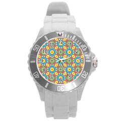 Geometric Multicolored Print Round Plastic Sport Watch (l) by dflcprints