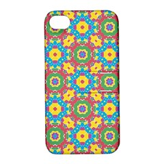 Geometric Multicolored Print Apple Iphone 4/4s Hardshell Case With Stand by dflcprints