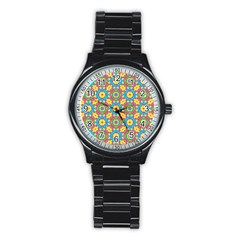 Geometric Multicolored Print Stainless Steel Round Watch by dflcprints