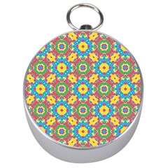 Geometric Multicolored Print Silver Compasses by dflcprints