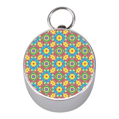 Geometric Multicolored Print Mini Silver Compasses by dflcprints