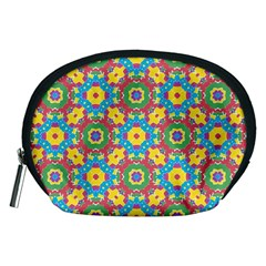 Geometric Multicolored Print Accessory Pouches (medium)  by dflcprints