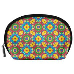 Geometric Multicolored Print Accessory Pouches (large)  by dflcprints