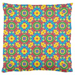 Geometric Multicolored Print Large Flano Cushion Case (two Sides) by dflcprints