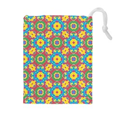 Geometric Multicolored Print Drawstring Pouches (extra Large) by dflcprints