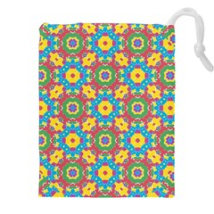 Geometric Multicolored Print Drawstring Pouches (xxl) by dflcprints