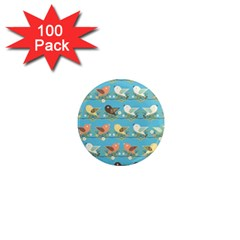 Assorted Birds Pattern 1  Mini Magnets (100 Pack)  by linceazul