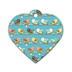 Assorted Birds Pattern Dog Tag Heart (two Sides) by linceazul