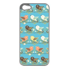 Assorted Birds Pattern Apple Iphone 5 Case (silver) by linceazul