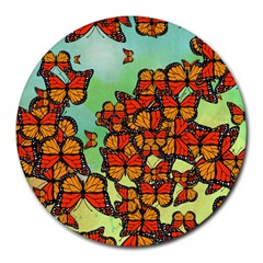 Monarch Butterflies Round Mousepads by linceazul