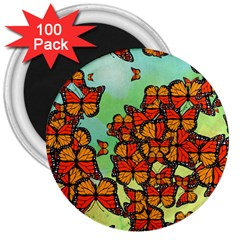 Monarch Butterflies 3  Magnets (100 Pack) by linceazul