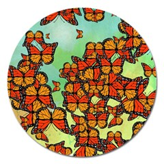 Monarch Butterflies Magnet 5  (round) by linceazul