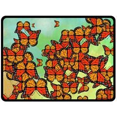 Monarch Butterflies Fleece Blanket (large)  by linceazul