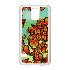 Monarch Butterflies Samsung Galaxy S5 Case (white) by linceazul