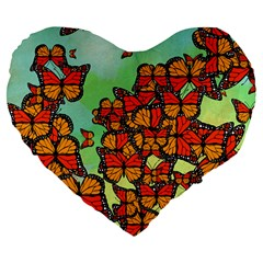 Monarch Butterflies Large 19  Premium Flano Heart Shape Cushions by linceazul