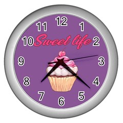 Sweet Life Wall Clocks (silver)  by Valentinaart