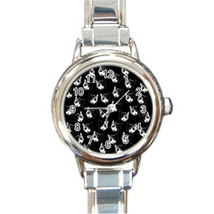 Cat Pattern Round Italian Charm Watch