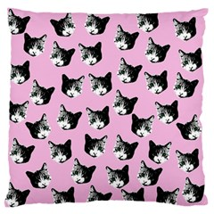 Cat Pattern Large Flano Cushion Case (one Side) by Valentinaart