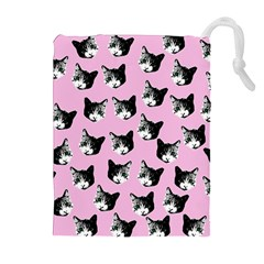 Cat Pattern Drawstring Pouches (extra Large) by Valentinaart