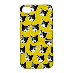 Cat Pattern Apple Iphone 4/4s Hardshell Case With Stand by Valentinaart