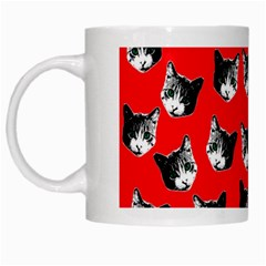 Cat Pattern White Mugs by Valentinaart