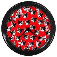 Cat Pattern Wall Clocks (black) by Valentinaart