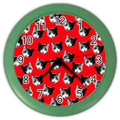 Cat Pattern Color Wall Clocks by Valentinaart