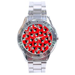 Cat Pattern Stainless Steel Analogue Watch by Valentinaart