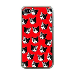 Cat Pattern Apple Iphone 4 Case (clear) by Valentinaart