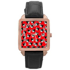 Cat Pattern Rose Gold Leather Watch  by Valentinaart
